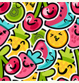 lovely berries and fruits mix pattern vector image