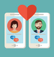 male and female hands holding mobile phones with vector image vector image