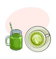 matcha green tea latte and smoothie drinks vector image vector image