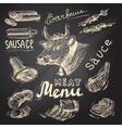 Meat chalkboard set vector image vector image
