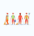 men street cleaners in uniform holding different vector image vector image