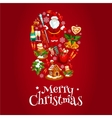 Mitten symbol with Christmas icons vector image