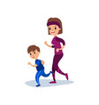 mom and son running together sport family and vector image vector image