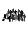 passengers with luggage refugees crew silhouette vector image