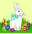 pop art easter bunny on green grass easter eggs vector image vector image