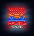 racing sports neon logo emblem pattern a glowing vector image vector image