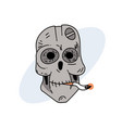 robot skull smoking cigarette vector image
