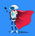 robot wearing red super hero cloak vector image