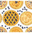 seamless pattern with blueberry pies vector image vector image