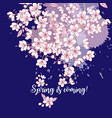 seamless pattern with sakura hand drawn spring vector image vector image