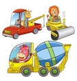 set construction vehicle animal cartoon vector image vector image