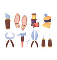 shoe workshop tools set tube glue and sharp awl vector image vector image