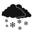 snow cloud holiday icon simple black style vector image