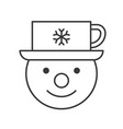 snowman and coffee cup on head outline icon vector image vector image