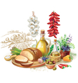 Still life against rural landscape vector image vector image