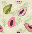 summer pattern with papaya seamless texture design vector image vector image