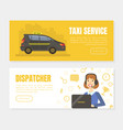 taxi service and dispatcher landing pages set vector image