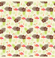 tropical pattern with flamingo and palm leaves vector image vector image