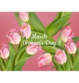Womens day on March with tulips number 8 EPS 10 vector image vector image
