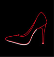 Womens shoe graphic on black background vector image vector image