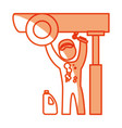 worker mechanic silhouette vector image