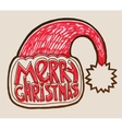 santa hat with lettering merry christmas vector image