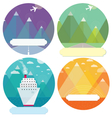 Set of mountain cards vector image