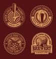 a set black and white vintage beer emblems vector image vector image