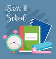 back to school clock book notebook and stapler vector image vector image