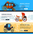 banners with carriage pictures horizontal vector image vector image