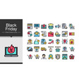 black friday icons filled outline design icon set vector image vector image