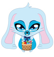 Blue Easter bunny vector image
