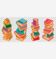 book stacks on transparent background vector image vector image