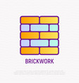 brickwork thin line icon vector image