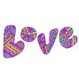 bright colored design word love vector image vector image