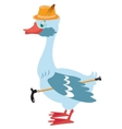 Cartoon goose in hat with walking stick vector image