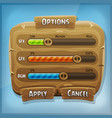 cartoon wood control panel for ui game vector image vector image