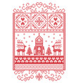 christmas pattern scandinavian with reindeer vector image vector image