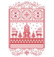 christmas pattern scandinavian with reindeer vector image vector image
