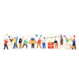 collection joyful people celebrating holiday vector image vector image