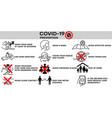 covid-19 infographic prevention coronovirus alert vector image