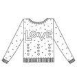 cute cozy sweater with hearts and love vector image