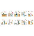doctors nurse in different situation in clinic set vector image