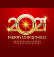 elegant greeting card merry christmas 2021 font vector image vector image