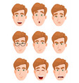 face expressions of a man with blond hair vector image