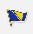 flag bosnia and herzegovina on flagstaff vector image