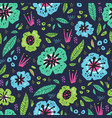 floral flat hand drawn seamless pattern vector image