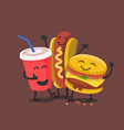 funny cute fast food vector image vector image