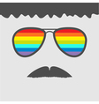 Glasses with rainbow lenses mustaches and hair vector image vector image
