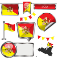Glossy icons with Sicilian flag vector image vector image